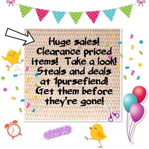 Huge sale going on now! At 1pursefiend!